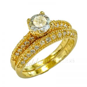 Ladies 22ct gold indian double ring serie Luxe Swarovski BHX-10