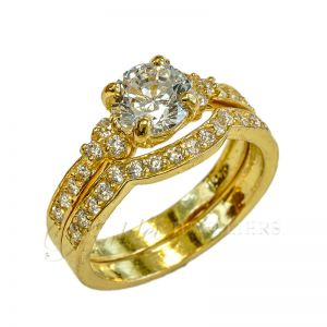 Ladies 22ct gold indian double ring serie Luxe Swarovski BHX-13