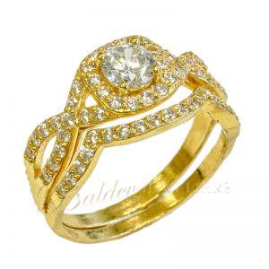 Ladies 22ct gold indian double ring serie Luxe Swarovski BHX-3