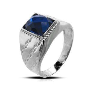 Surinaamse holle zilver cachet ring met blauwe rechthoek steen