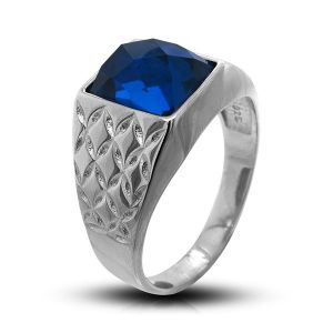 Surinaamse holle zilver cachet ring met rechthoekig blauwe steen