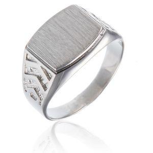 Surinaamse holle zilver cachet ring rechthoek gebold