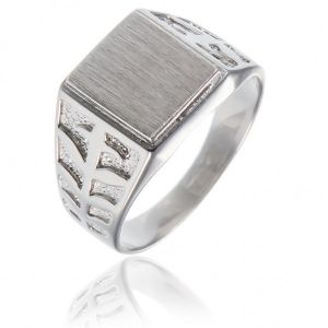 Surinaamse holle zilver cachet ring vierkant vorm