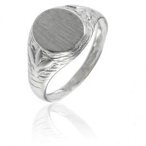 Surinaamse holle zilver kinder cachet ring platte ovaal met blad