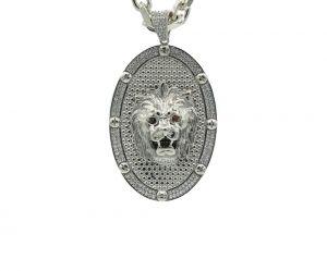 Zilveren Leeuwenkop Hanger