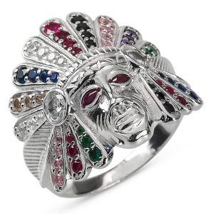 Heren Ring Zilver Alex Indianen gekleurd large