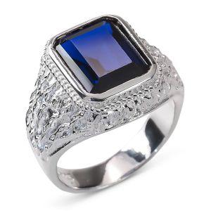 Heren Ring Zilver Angelo blauw vierkant