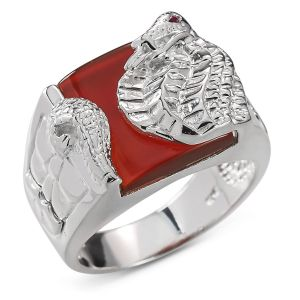 Heren Ring Zilver Benny pastel rood large
