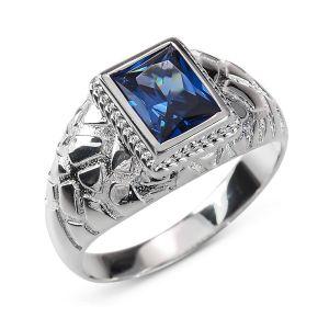 Heren Ring Zilver Dennis blauw small