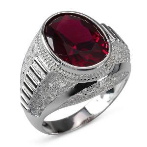 Heren Ring Zilver Jamie rood large