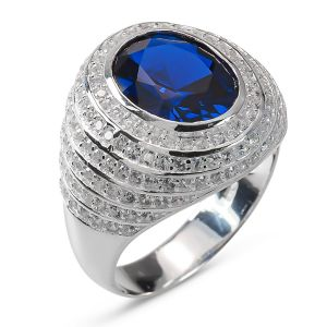 Heren Ring Zilver Luther blauw large