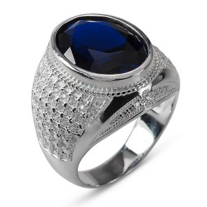 Heren Ring Zilver Mitchell blauw large