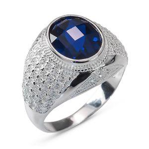 Heren Ring Zilver Mitchell blauwe medium