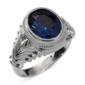 Heren ring Zilver Patrick blauw large