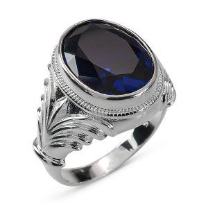 Heren Ring Zilver Patrick blauw medium
