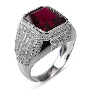 Heren Ring Zilver Rijker rood medium