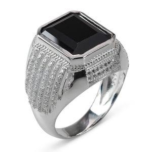 Heren Ring Zilver Rijker zwart medium