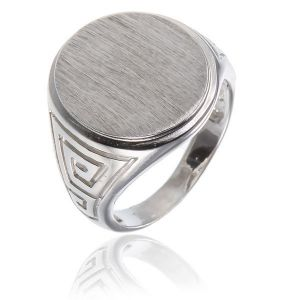 surinaamse holle zilver cachet ring grote ovale vorm