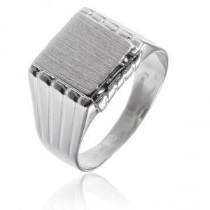 surinaamse holle zilver cachet ring vierkant