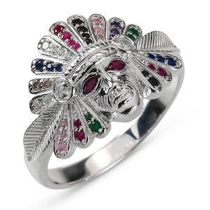 Heren Indianen Ring Zilver Alex gekleurd small