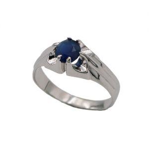 zilveren kinder ring met blauwe steen