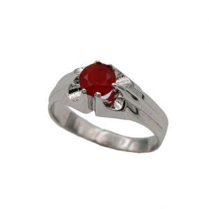 zilveren kinder ring met rode steen
