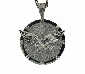 Zilveren adelaar hanger met steentjes