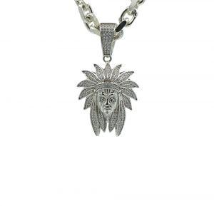 Zilveren Indianenkop hanger met zirkonia stenen