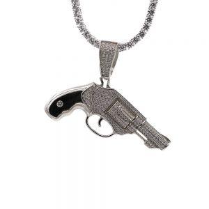 Revolver pistool hanger zilver met steentjes