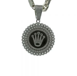 Zilveren rolex hanger met zirkonia steentjes