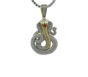 Zilveren Slangenhanger met Goud Detail